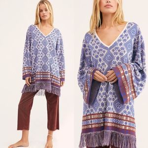 NEW Free People It's A Cinch Poncho S Sweater Boho